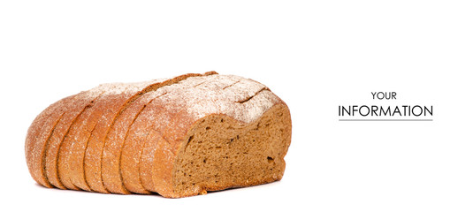 Bread sliced brown pattern on white background isolation