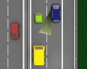 Autos mit der Darstellung des toten Winkels. 3d render