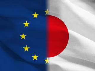 Japan vs Europe flags, illustration, free trade agreement Jefta