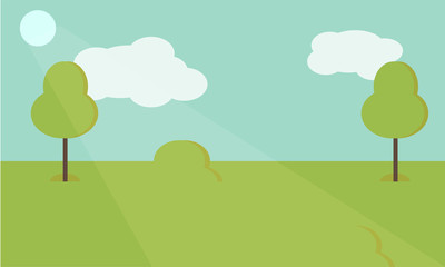 Vector nature landscape background. Cute simple cartoon or flat style