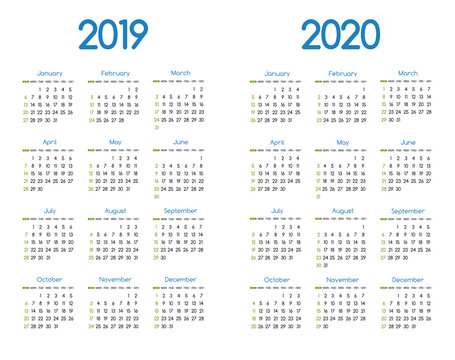 New year 2019 and 2020 vector calendar modern simple design with round san serif font,Holiday event planner,Week Starts Sunday..