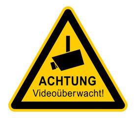 wso337 WarnSchildOrange - german - Warnzeichen: ACHTUNG Videoüberwacht! - vss65 VideoSurveillanceSign vss - Symbol Videokamera - dreieckig gelb / orange - xxl g6319