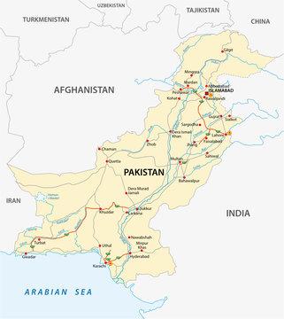 Islamic Republic of Pakistan road vector map