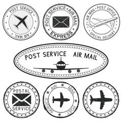 Postmarks with airplane and envelope symbols. Black ink postal stamps