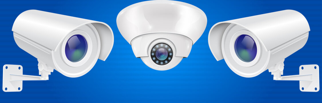 Security camera set. Wall and ceiling mount CCTV surveillance system on blue background