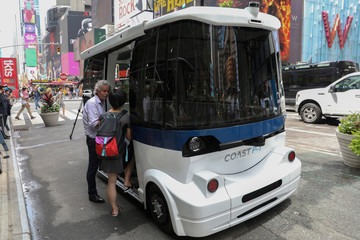 The Coast P-1 Shuttle, made by Coast Autonomous, a bi-directional, self-driving vehicle, which is designed to operate in pedestrian areas or in low-speed mixed traffic, is seen during a media demonstration in Times Square in New York City