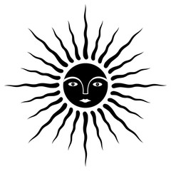 The sun is the image of man. Face in halo of rays. Black and white symbol. Vector graphics.