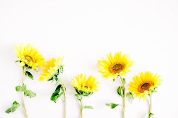 Flowers composition. Border made of yellow flowers sunflower on white background. Flat lay, top view, copy space