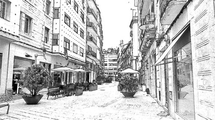 sketch Old town Barcelona Spain illustration
