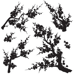 Plum Blossom Branches Silhouette Set