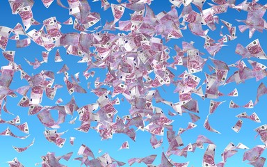 Flying euro banknotes against the sky background. Money is flying in the air. 500 EURO in color. 3D illustration