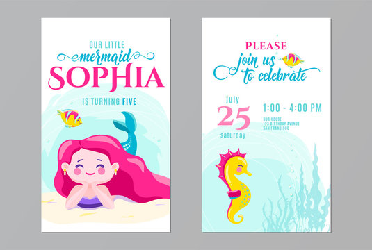 Mermaid birthday cute invite card design. Kids party anniversary. Front and back side