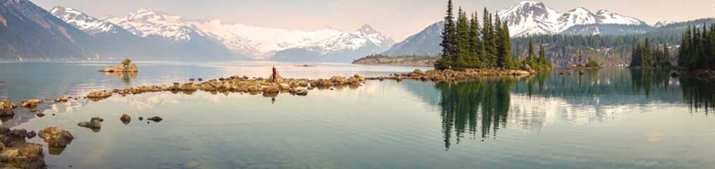 Panoramic Landscape View of Garibaldi Lake in Coast Mountains of British Columbia Canada with distant Sphinx Glacier obscured by haze from summer wildfires Fototapete