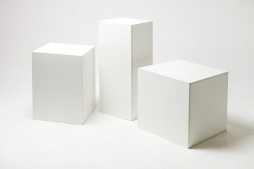 white cubes and parallelepipeds on cyclorama ?? modern photo studio