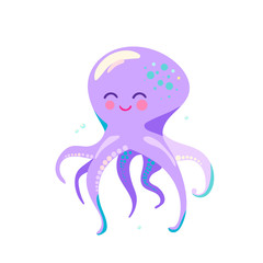 Cute octopus vector illustration isolated on white