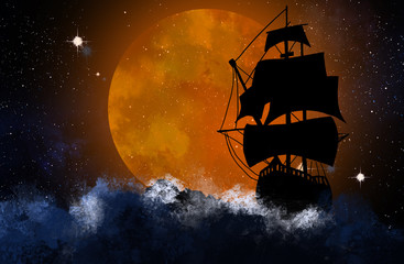 Canvas Prints Ship Silhouette of the ship against the background of the night starry sky and the big moon