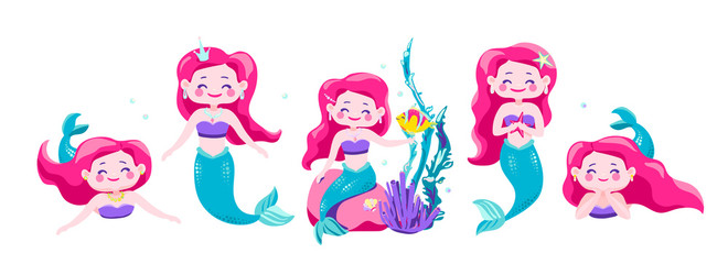 Mermaid vector, cartoon little princess. Fun sea character design isolated on white