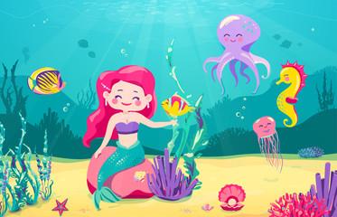 Cartoon mermaid background with fish, rocks, coral, starfish, octopus, sea horse, seaweed, pearl, jellyfish. Underwater sea life. Cute character design