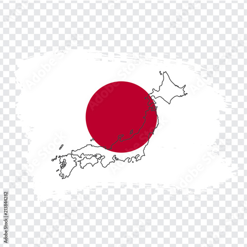 Flag of Japan from brush strokes and Blank map Japan. High ...