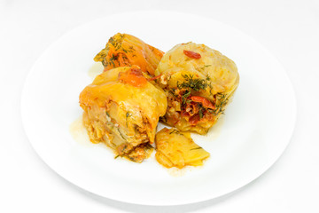 delicious red bell peppers stuffed with minced meat on white plate