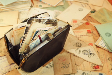 "Family archive in the vintage handbag and postal letters of World War2.  Envelopes are stamped: ""Viewed by military censorship"""