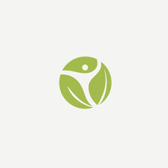 Logo concept of man and leaf. Environmental protection, camp, ecology, healthy eating, Botanical Garden, park, forest, farm, agriculture vector sign.