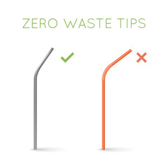 Reusable steel drinking straw instead of plastic straw. Zero waste tips. Eco lifestyle.