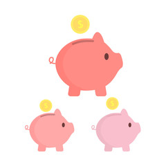Piggy bank with coins. Different tints. SavIng money or open a bank deposit concept. Vector illustration.