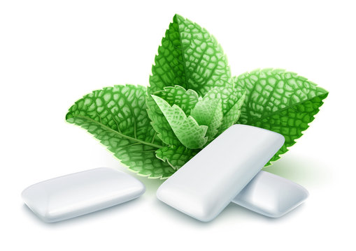 Pads of bubble gum with mint flavour. Green leaves spearmint