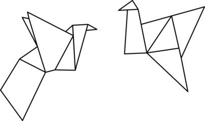 Origami Schwäne Geometrisch