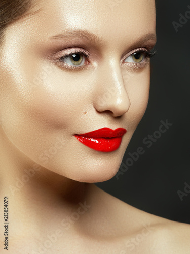 9f7a84bed Beauty Fashion Model Woman face. Portrait with perfect skin. Red Lips and  Nails. Beautiful Sexy Brunette Woman with Luxury Makeup