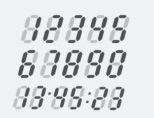 Clock digital numbers. Display symbol set