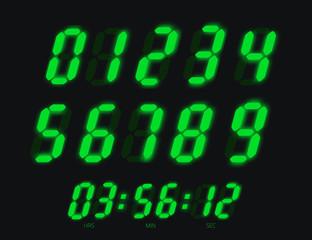 Digital clock numbers. Bright led display signs