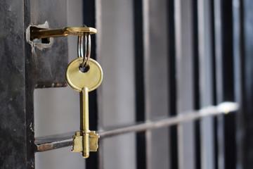 key in the iron door grille in prison