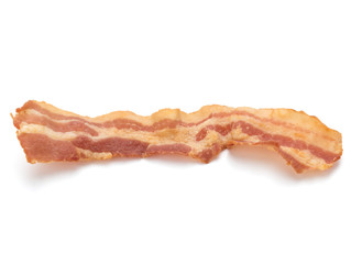 cooked crispy slice of bacon isolated on white background