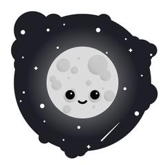 Cartoon cute moon in sky full of stars - isolated vector illustration