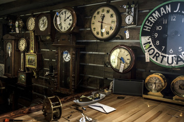 Interior of clock repair shop in New York City