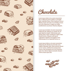 Sketched chocolate bars flyer or banner template