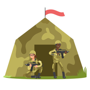 Cartoon character soldier and military tent vector illustration