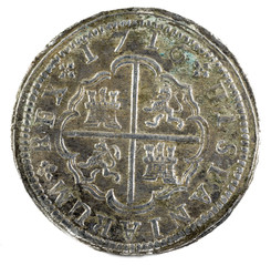 Ancient Spanish silver coin of the King Felipe V. 1716. Coined in Madrid. 2 reales. Reverse.