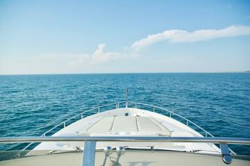 Luxury Yacht Cruising the Ocean in Newport, Rhode Island.