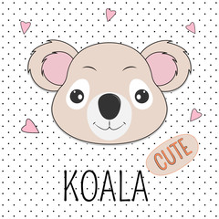 Portrait cute cartoon bear in cap with the inscription Koala.