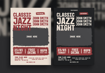 Music Flyer Layout with Grunge-Style Photo Element