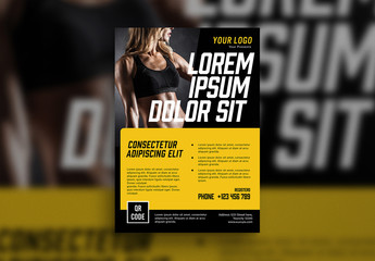 Fitness Flyer with Yellow Accents