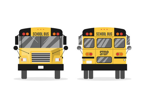 School bus, rear view and front