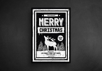 Christmas Flyer Layout with Reindeer Graphic