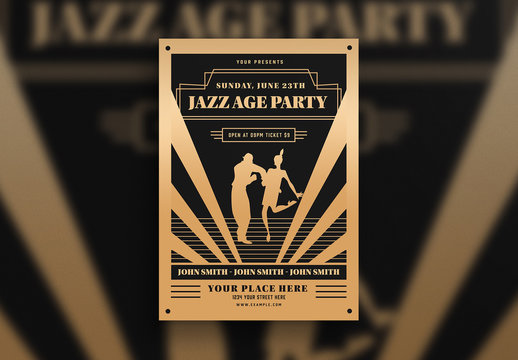 Jazz Age Party Flyer Layout with Dancing Couple Graphic