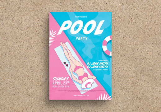 Pool Party Flyer Layout with Character Illustration