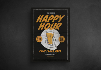 Happy Hour Flyer Layout with Vintage-Style Elements