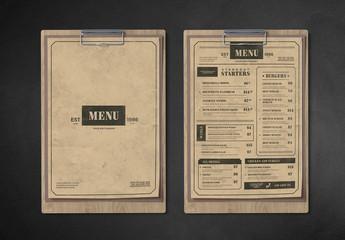 Vintage-Style Restaurant Menu Layout